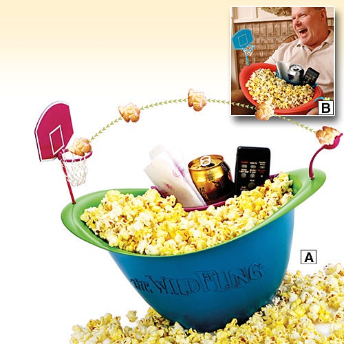 Popcorn-Flinging Basketball Bowl Shoots and Scores