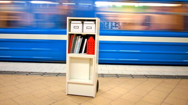 Transform a Bookshelf into a Portable Workspace on Wheels