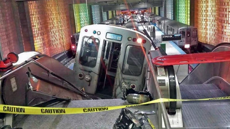 Chicago Train Crashes into O'Hare Airport