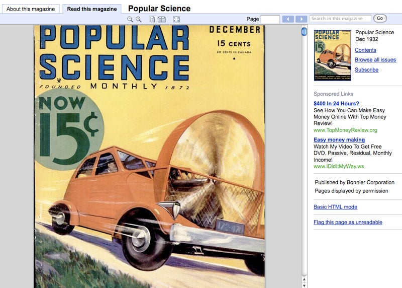 Browse the PopSci and PopMech Archives On Google Books' New Magazine Search
