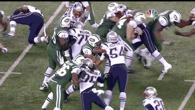 The Jetsiest Jets Play Ever: Mark Sanchez Fumbles After Getting Floored By His Lineman's Ass
