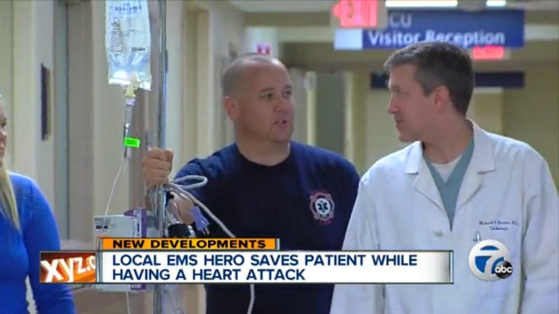 EMT Saves Heart Attack Victim While Suffering Heart Attack of His Own