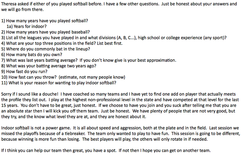 Delusional Rec-League Softball Coach Has 11 Insane Questions For You
