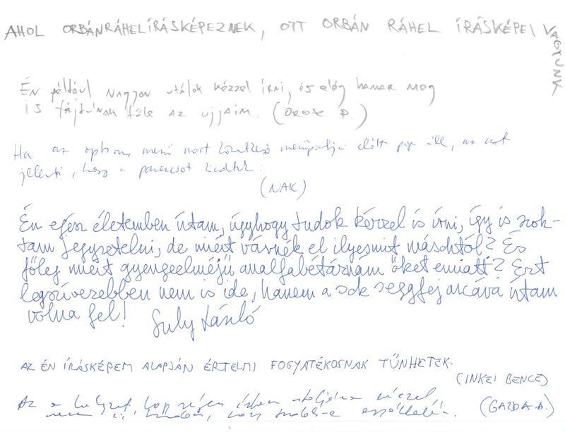 Nincsen cikibb Orbán Ráhel kézírásának fikázásánál