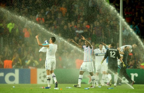 Barcelona Turn On Sprinklers To Dampen Inter Celebrations