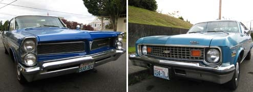 '63 Pontiac Bonneville And '74 Chevrolet Nova Down On The Olympia Street