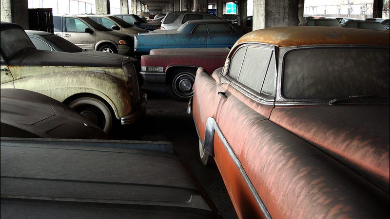 Old cars left to rot under Canadian overpass