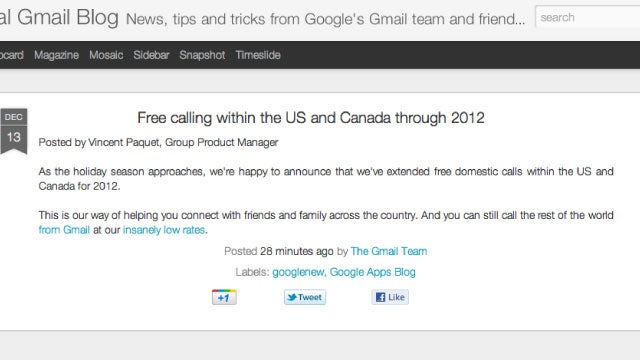 Google Extends Free Voice Calls in Gmail for All of 2012