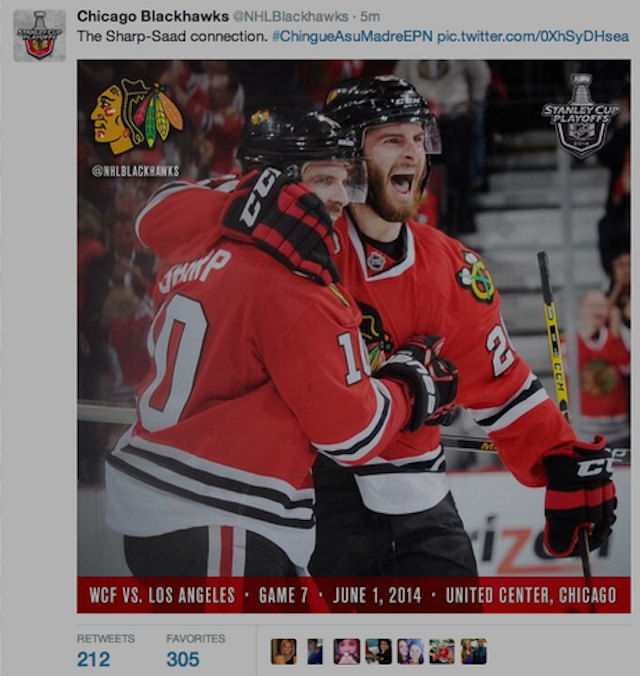 Blackhawks Twitter Account Tells Mexican President To Fuck His Mother