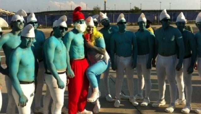 This Evening: The Nationals' Rookies, Hazed To Dress As Smurfs, With Stephen Strasburg As Papa Smurf