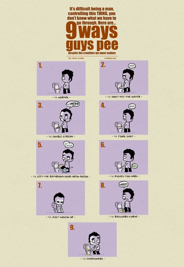 The Nine Different Ways A Man Can Pee