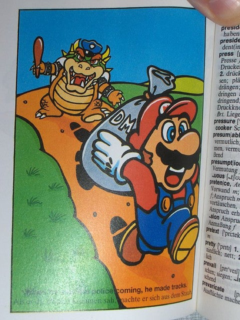 Mario Robs Banks, Waves the Union Jack for Proper English