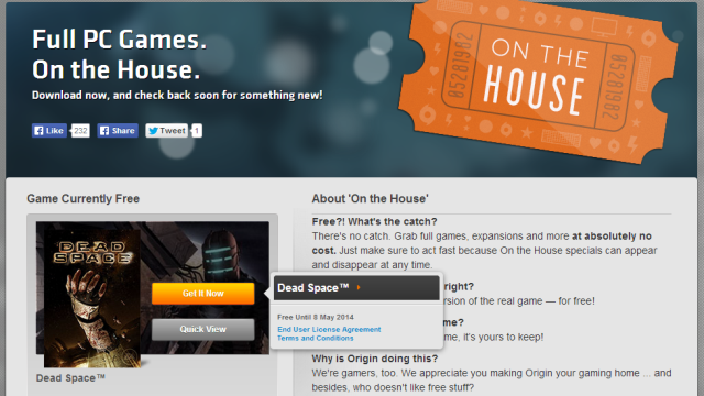 """Download Free AAA Computer Games From EA Origin's """"On The House"""""""