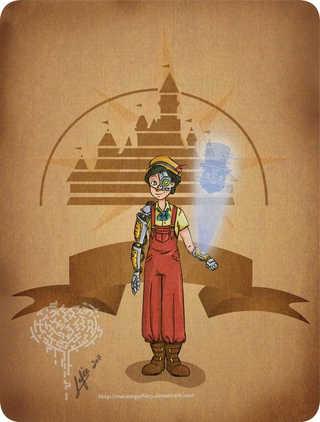 Classic Disney villains redrawn as steampunk baddies