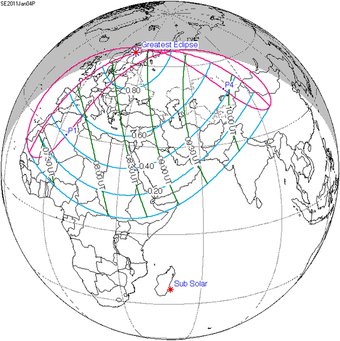 When can you see partial solar eclipses in 2011?