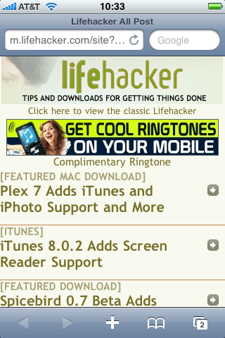 Lifehacker's Mobile Site Revamped