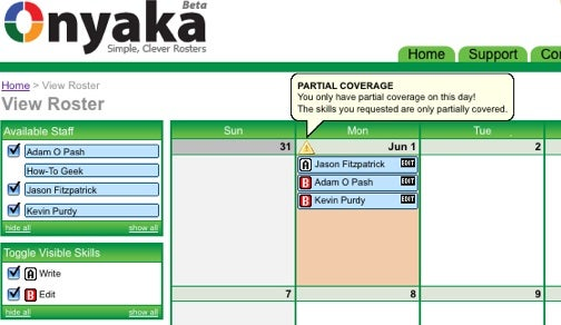 Onyaka Is a Free Web-Based Staff Planning App