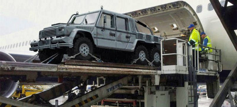 Behold The Fearsomeness Of An Armored 6x6 G-Wagen Coming Out Of A Jet