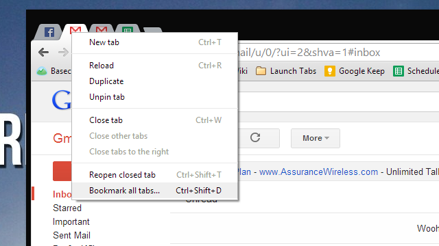 Save Sets of Multiple Tabs to Launch Later in the Bookmarks Bar