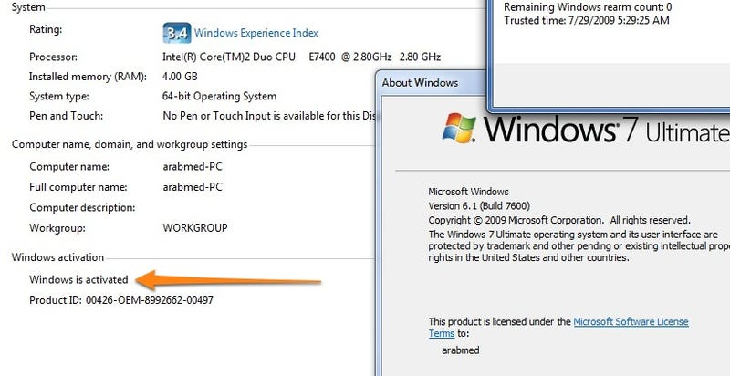 Windows 7 RTM Activation Already Cracked