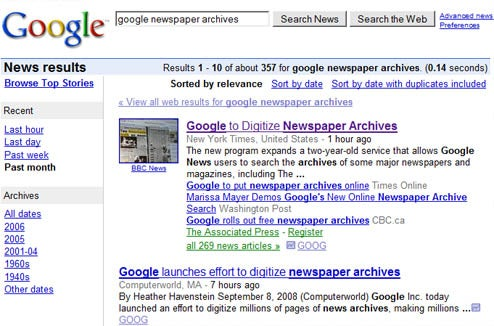 Google Digitizing Newspaper Archives, Online Microfilm Searching Forthcoming