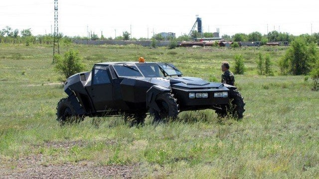 Hand built off road vehicle is the Russian version of Batman's Tumbler