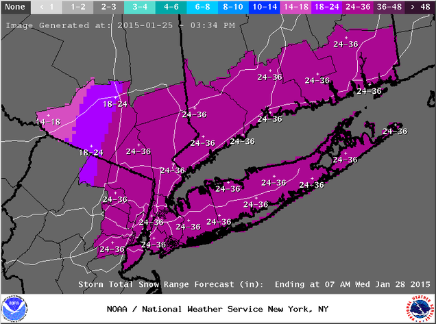 projected snowfall map A winter storm warning has been issued for ocean county, new jersey, the central parts of long island's suffolk county, as well as the island's north fork from 4 am saturday to 6 am sunday, where the heaviest snowfall totals are expected a winter weather advisory has been issued for much of the rest.