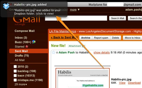 Habilis Adds Files to Dropbox via Email