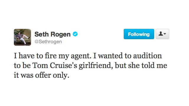 Seth Rogan Gets Passed Over for the Role of Tom Cruise's Girlfriend, Is Not Happy About It