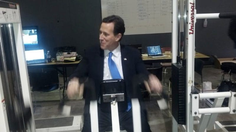Here's Rick Santorum Lifting Weights in a Suit