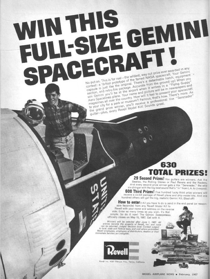 Completely ridiculous 1960s sweepstakes offered Gemini spacecraft as grand prize