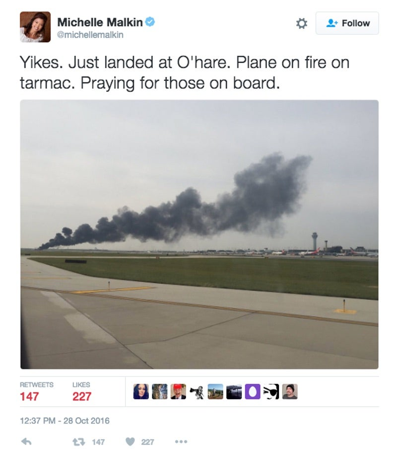 Plane Catches Fire at O'Hare On Fire Drill Day