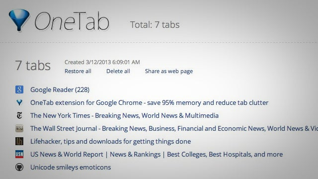 OneTab Unloads All Your Tabs Into a Shareable List