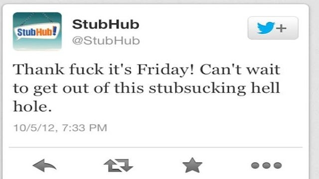 The Social Media Director at StubHub Is Not Having a Good Night