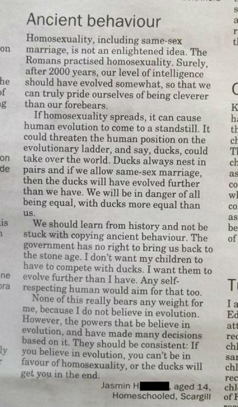 Homosexuality Will Lead to Enslavement of Humanity by Ducks Warns Homeschooled Teen