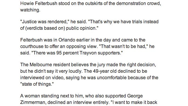 "USA Today Article On Zimmerman Verdict Quotes A ""Howie Felterbush"""