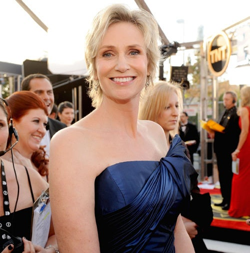 Jane Lynch Looks Gleeful