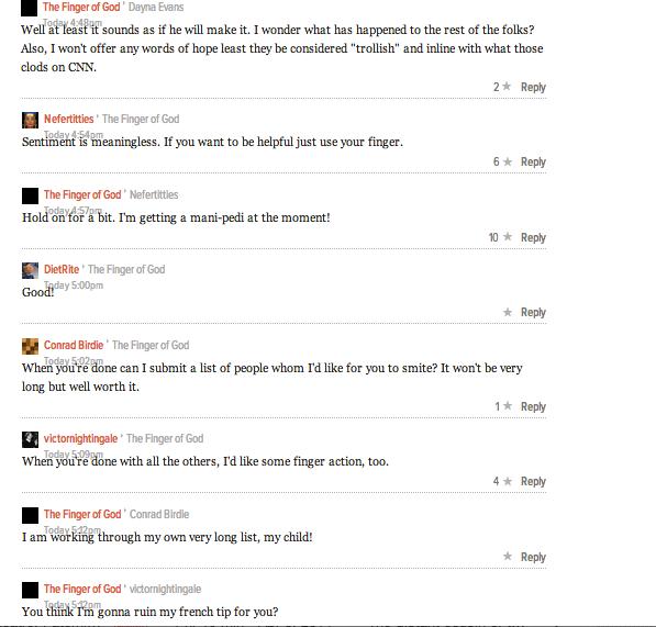 A rare charming thread on Gawker MainPage