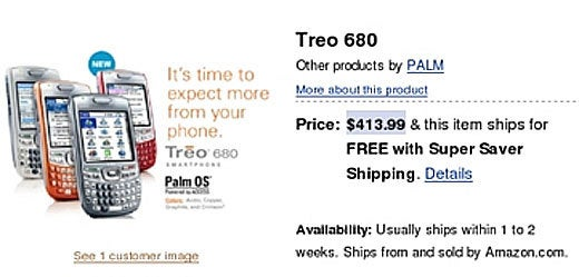 Palm Treo 680 Shows Up On Amazon