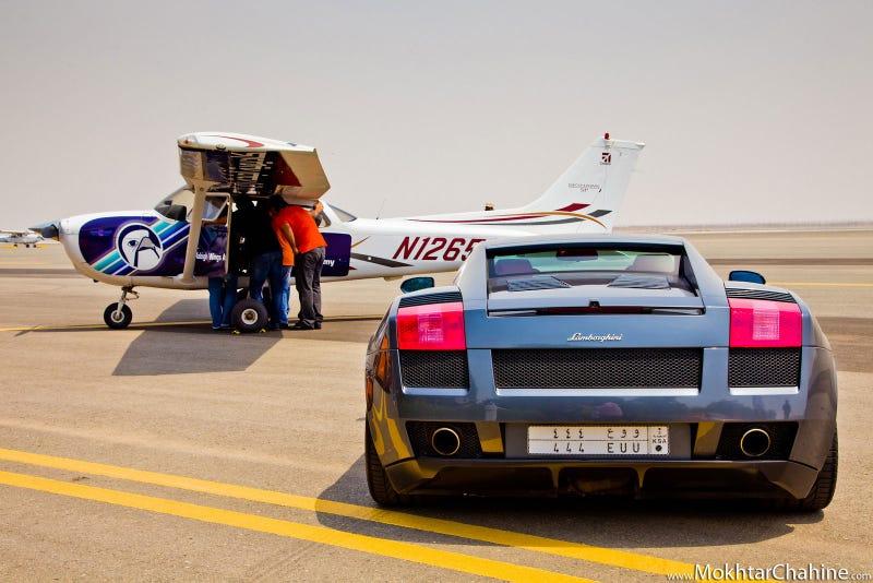 Lamborghinis versus planes in the Saudi desert