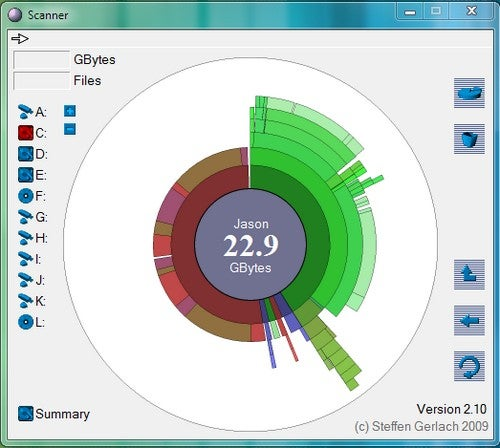 Scanner Displays Disk Usage as a Radial Graph