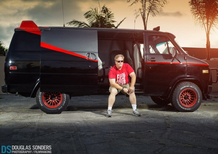 Photoshoot with KITT From Knight Rider And The A Team Van