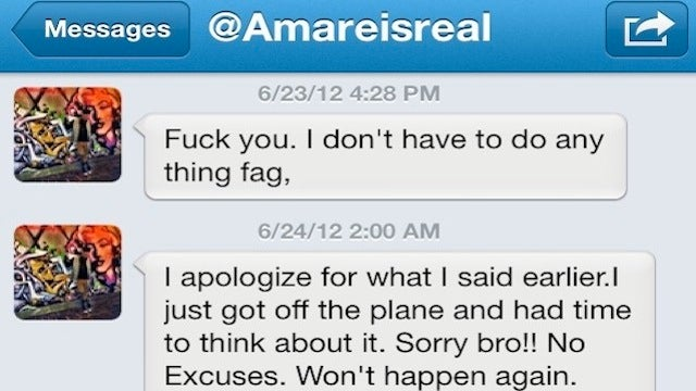 "Knicks Fan Tells Amar'e Stoudemire To Step Up His Game Next Year, Amar'e Calls Him A ""Fag"" [UPDATE]"