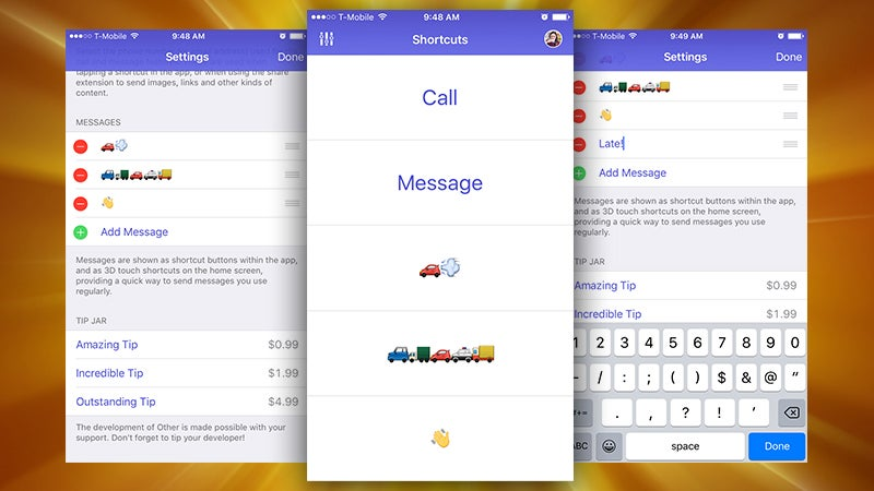Other for iPhone Quickly Sends Canned Messages to One Other Person
