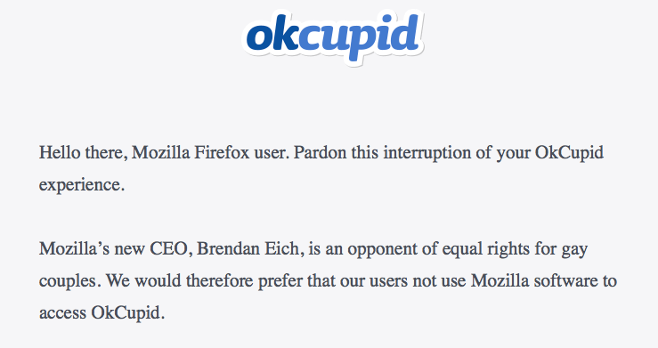 OkCupid Blocks Firefox Over Anti-Gay CEO