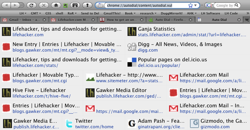 Auto Dial Puts Frequently Visited Sites in New Tabs