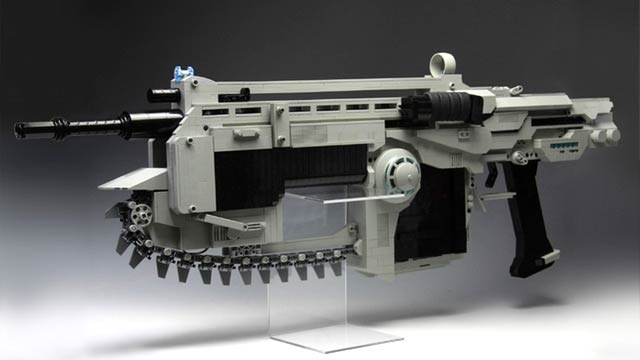 Full-Size Lego Gears of Wars Assault Rifle Fires Stinging Rubberbands