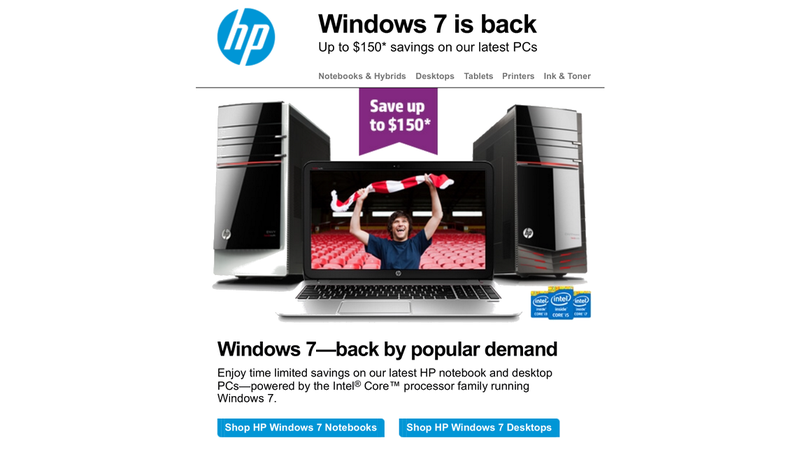 HP Would Very Much Rather You Buy a Windows 7 PC