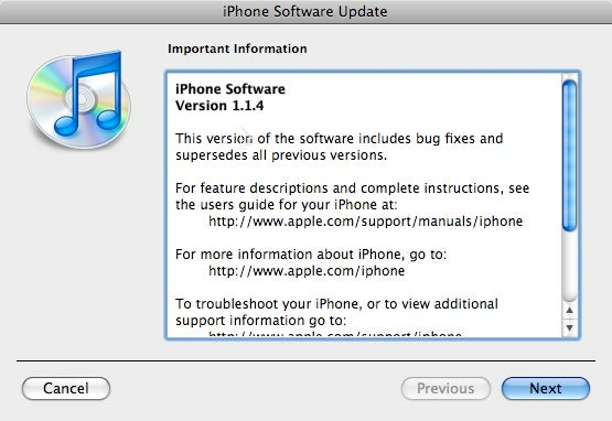 iPhone 1.1.4 Update is Out
