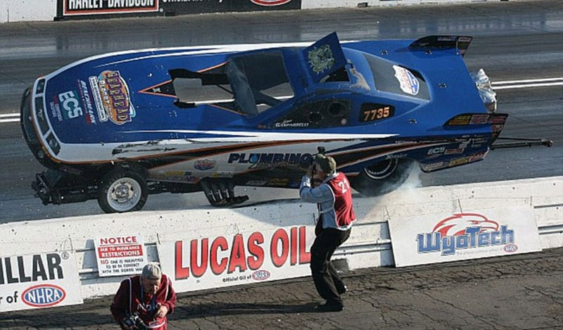 Drag Racing Photographer Has Steel Balls, Death Wish